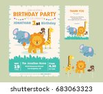 Stock vector cute animal theme birthday party invitation and thank you card illustration template 683063323
