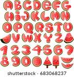 font summer graffiti watermelon | Shutterstock .eps vector #683068237