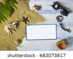 sand  seashells and beach set... | Shutterstock . vector #683073817