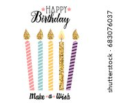 happy birthday card with candles | Shutterstock . vector #683076037