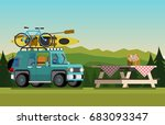 recreation in nature. car with... | Shutterstock .eps vector #683093347