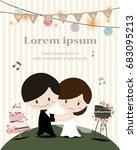 happy bride and groom  dance... | Shutterstock .eps vector #683095213