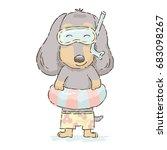 cute cartoon dachshund in... | Shutterstock .eps vector #683098267