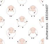 dancing sheep. seamless vector...   Shutterstock .eps vector #683106607