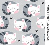 seamless sleeping cat pattern... | Shutterstock .eps vector #683115067