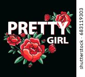 pretty girl poster with red... | Shutterstock .eps vector #683119303