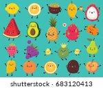 Stock vector vintage food poster design with vector lemon passion fruit mango dragon fruit avocado 683120413