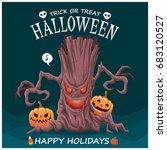 vintage halloween poster design ... | Shutterstock .eps vector #683120527