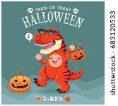 vintage halloween poster design ... | Shutterstock .eps vector #683120533