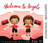 angola   boy and girl with... | Shutterstock .eps vector #683122093