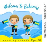 bahamas   boy and girl with... | Shutterstock .eps vector #683122357