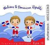 dominican republic   boy and... | Shutterstock .eps vector #683122363
