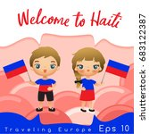 haiti   boy and girl with... | Shutterstock .eps vector #683122387