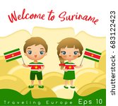 suriname   boy and girl with... | Shutterstock .eps vector #683122423
