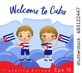 cuba   boy and girl with... | Shutterstock .eps vector #683122447