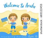 aruba   boy and girl with... | Shutterstock .eps vector #683122453
