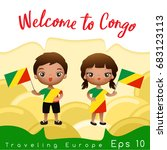 congo   boy and girl with... | Shutterstock .eps vector #683123113