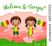 senegal   boy and girl with... | Shutterstock .eps vector #683123323
