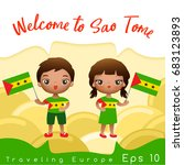 sao tome   boy and girl with... | Shutterstock .eps vector #683123893