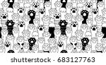 Stock vector cat paw cat breed kitten hand doodle illustration seamless pattern wallpaper background 683127763