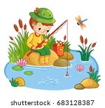 Stock vector the boy sits on a rock and catches fish in a pond fisherman vector illustration of a cartoon 683128387