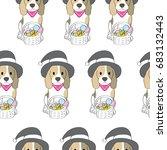 cartoon cute halloween  dog and ... | Shutterstock .eps vector #683132443