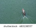 top view of  motor boat sailing ...   Shutterstock . vector #683138557