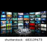wall of tv screens with surreal ... | Shutterstock . vector #683139673