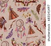 seamless pattern in boho style. ... | Shutterstock . vector #683141497