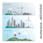 eco village  sustainable city   ... | Shutterstock .eps vector #683143543