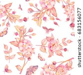 watercolor seamless pattern... | Shutterstock . vector #683156077
