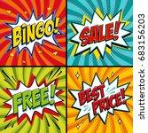 pop art web banners. bingo.... | Shutterstock .eps vector #683156203