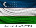 national flag of uzbekistan on... | Shutterstock .eps vector #683167153