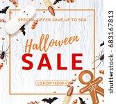 halloween sale background with... | Shutterstock .eps vector #683167813