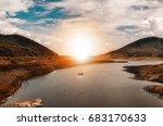 a beautiful golden sunset on...   Shutterstock . vector #683170633