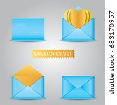 realistic blue envelopes and... | Shutterstock .eps vector #683170957