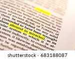 Small photo of Book Highlighted Word Yellow Fluorescent Marker Paper Old Keyword Abound in Miracles