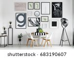 wooden dining table with... | Shutterstock . vector #683190607