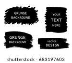 grunge set of black paint  ink... | Shutterstock .eps vector #683197603