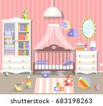baby girl room with furniture.... | Shutterstock .eps vector #683198263