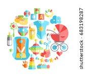 vector flat infancy round... | Shutterstock .eps vector #683198287
