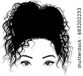 black girl with cute bun... | Shutterstock .eps vector #683202253