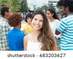 caucasian woman with large... | Shutterstock . vector #683203627