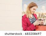 portrait of beautiful smiling... | Shutterstock . vector #683208697