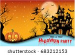 halloween night background with ... | Shutterstock .eps vector #683212153