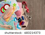 items for sewing clothes. view... | Shutterstock . vector #683214373