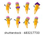 cartoon clever pencil character ... | Shutterstock .eps vector #683217733