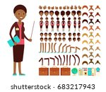 flat female teacher or... | Shutterstock .eps vector #683217943