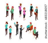 isometric 3d business people... | Shutterstock .eps vector #683218057
