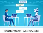 chatbot concept. man chatting... | Shutterstock .eps vector #683227333